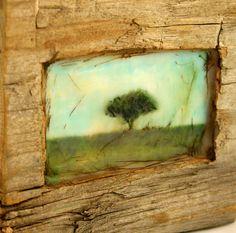 Hiding places  The Apple Tree  original encaustic mixed