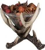 The River's Edge Deer Antler Glass Dish features a glass dish which is perfect for holding fruit, nuts, potpourri, and more. This decorative dish also offers a durable resin construction, and is the perfect gift for every outdoorsman. Antler Crafts, Antler Art, Painted Deer Antlers, Antler Candle Holder, Candle Holders, Lodge Decor, Hunting Home Decor, Plates And Bowls, Glass Dishes