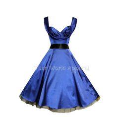 H&R LONDON BLUE SATIN PARTY SWING 1950's EVENING DRESS VINTAGE MARILYN STYLE VTG #HandRLondonHeartsandRoses #partyvintagestylevtgpinuprockabillyretro #Cocktail
