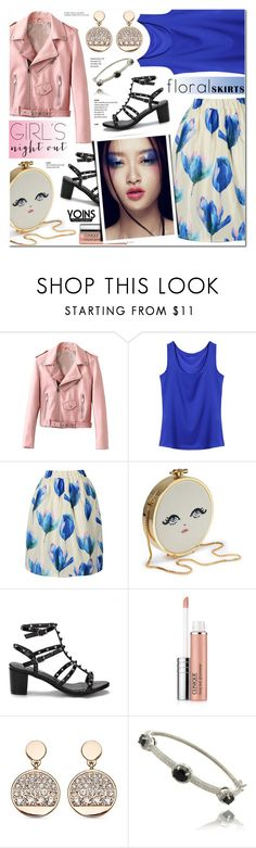 """Girls' Night Out: Summer Edition-Floral Skirt-Yoins 21"" by anyasdesigns ❤ liked on Polyvore featuring Clinique, Dolce Giavonna and Tiffany & Co."