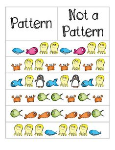 Jessica Hampton, TPT, free=This product can help teachers to teach their students to see patterns. With this activity students have to decide if the pictures create a patter. Patterning Kindergarten, Kindergarten Math, Teaching Math, Teaching Patterns, Math Patterns, Math Work, Fun Math, Math Resources, Math Activities