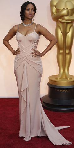 Prom Dress sewing inspiration: Zoe Saldana in Atelier Versace at the 2015 Oscars.