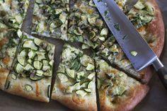 Zucchini Pizza with Olive Vinaigrette recipe on Food52