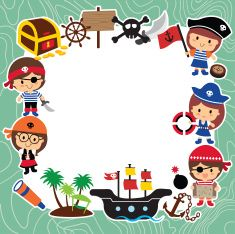 pirates kids layout design vector art illustration