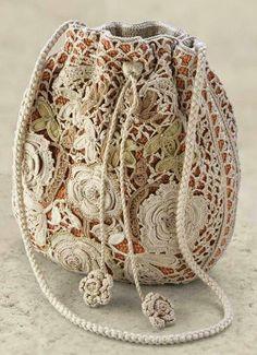 ergahandmade: Irish Crochet Bag + Diagram + Videos