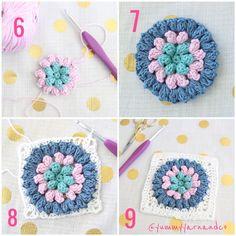 Steps 6-9 of the Pretty Puffy Square - found on RedAgapeBlog - free crochet pattern using DMC Natura just cotton