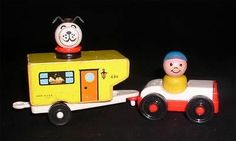 Vintage Fisher Price Little People 686 Wooden Car camper Set Complete 5 | eBay