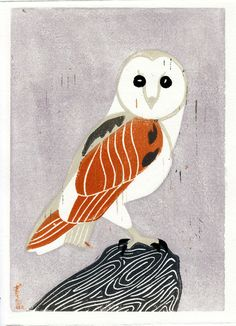 {Owl Block Print} by Anna See: making this into an 3d wall hang with fabric