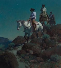Bill Anton - Sure-Footed & Trail Wise Great Paintings, Animal Paintings, Nocturne, Cowboy Artwork, Moonlight Painting, Le Far West, Traditional Paintings, Art For Art Sake, Equine Art