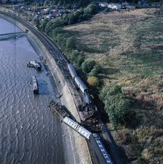 Invergowrie rail crash in October 1979 near Dundee. An aerial picture of the derailed train and coaches lying in the water. Live Steam Locomotive, Diesel Locomotive, Uk Rail, Dundee City, British Rail, Glasgow, Edinburgh, Train Travel, Trains