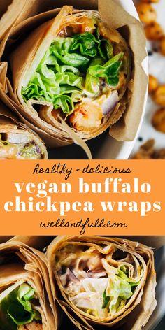 Vegan Buffalo Chickpea Wraps | Well and Full Wrap Recipes, Raw Food Recipes, Vegetarian Recipes, Cooking Recipes, Healthy Recipes, Healthy Lunches, Healthy Wraps, Healthy Food, Healthy Eating