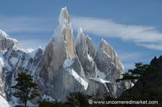 Jagged Peaks, Cerro Torre, El Chalten, Argentina... A line of snow-dusted jagged peaks on the way to Torre Lagoon outside El Chalten, Argentina. Lago Argentino, Santa Cruz Province, Argentina