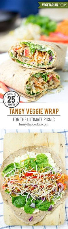 Low Unwanted Fat Cooking For Weightloss Tangy Veggie Wrap - For The Ultimate Picnic # Wrap Lunch Snacks, Healthy Snacks, Healthy Eating, Healthy Recipes, Healthy Picnic, Diet Recipes, Vegetarian Recipes Easy, Picnic Lunch Ideas, Veggie Lunch Ideas