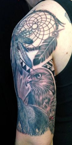 Native american hawk and dreamcatcher tattoo by Diane Lange at moonlight tattoo