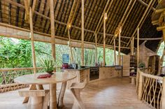 You'd think a tree house would have a bare bones kitchen, but this unique bamboo house all the amenities, including a modern stove, large sink, and a refrigerator covered in bamboo. Rate: $325/night   - HouseBeautiful.com