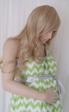 Lime Green Chevron Maternity Hospital Gown delivery by MilkThreads Nursing Gown, Breastfeeding Dress, Green Chevron, Hospital Gowns, Lime, Maternity, Delivery, Long Hair Styles, Trending Outfits