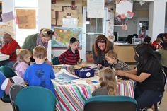 """more families making """"Bridging Our Future"""" placemats"""