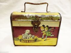 RARE George Studdy Bonzo dog and his puppies lunch pail tin c1925s