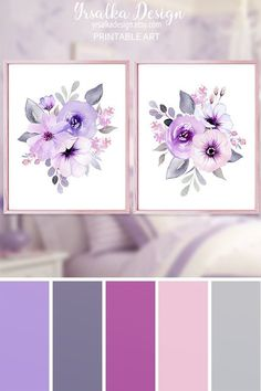 Purple Floral Art Print Set for Nursery Printable Lilac Lavender Flower Bouquet Print Set 2 Wall Decor Watercolor Flower Purple Artwork Purple floral art print set of It's can be used in a living room, baby girl's nursery, bedro Bedroom Paint Colors, Bedroom Color Schemes, Purple Color Schemes, Purple Paint Colors, Purple Color Palettes, Pastel Colors, Color Combinations, Art Mural Floral, Girl Nursery