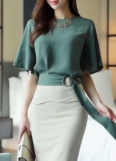 Side Buckle Belted Half Sleeve Blouse - Korean Women's Fashion Shopping Mall, Styleonme. N Source by mariavashkeba - Mode Outfits, Office Outfits, African Fashion, Korean Fashion, Diy Kleidung, Korean Women, Classy Outfits, Half Sleeves, Blouse Designs