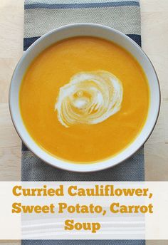 Made in the slow cooker, this curried cauliflower, sweet potato, carrot soup is the perfect lunch or supper for cold winter days.