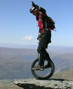 Ride a Unicycle in mountain..They are nothing like that !