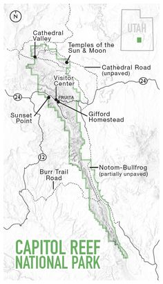 Picture of a map of Capitol Reef National Park, Utah