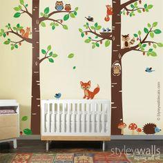 Baum Waldwald Tiere Wandtattoo von Smileywalls auf DaWanda.com