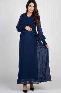Navy Polka Dot Chiffon Smocked Maxi Dress
