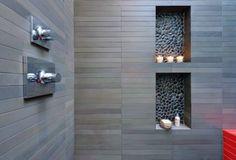 River Rock Shower Floor Tile Bathroom Shower Tile Accent And Niche Pebble Tile Shower, Tile Shower Niche, Rock Shower, Bathroom Niche, Shower Floor, Pebble Floor, Tile Bathrooms, Shower Alcove, Slate Shower