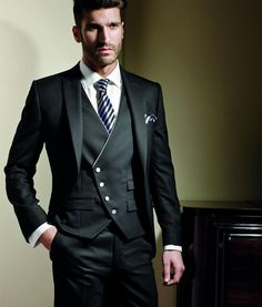 CUSTOM MADE men wedding suit black mandarin collar men jacket pants +waistcoat | eBay