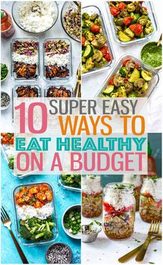 10 easy ways to eat healthy on a budget it s easier than you think! mealprep budgetmeals cheaprecipes 10 easy ways to eat healthy on a budget it s easier than you think! Ways To Eat Healthy, Healthy Recipes On A Budget, Healthy Meal Prep, Budget Meals, Healthy Dinner Recipes, Healthy Meal Planning, Cheap Healthy Meal Plan, Easy Recipes, Cheap Healthy Dinners