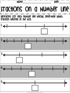 Fractions on a Number Line free worksheet! CCSS 3.NF.2
