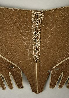 Corset Date: ca. 1780 Culture: British Medium: cotton, flax, wood, metal
