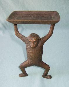 Gentil Antique Solid Brass Monkey Business Card Holder / Soap Dish