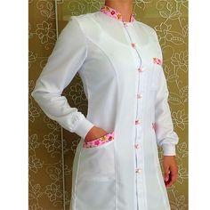 Avental feminino manga longa Corujinha                                                                                                                                                                                 More White Salwar Suit, Salwar Suits, Dental Uniforms, Blouse Nylon, Lab Coats, Medical Design, Nylons, White Fashion, Scrubs