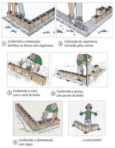 Levantando a primeira fiada na alvenaria Autoclaved Aerated Concrete, Concrete Footings, Concrete Bricks, Reinforced Concrete, Home Building Tips, Building Stairs, Building A House, Brick Bonds, Civil Engineering Construction