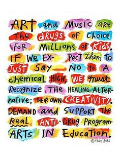 "Love this Fred Babb poster re: Arts in Education. I had the privilege of meeting him many years ago while interning in A Bay Area art gallery that carried his ""ear heads"" jewelry. Amazing man!"
