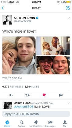 Larzaylea, mystal, cashton............. and the fact Calum commented I'm in love ❤️<<<<<< thats wasnt Cal that acc is a poser and isnt even verified