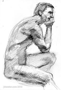 """The Thinker,"" sketch of model from life. I liked the pose. In pencil. Probably a 20-30 minute pose."
