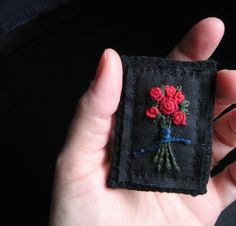 Red Rose Bouquet Brooch - Hand Embroidery on Black Fabric  $22