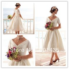 WR1832 Latest Design Photos Sexy V-neck Tea Length Wedding Dresses with Sleeves on AliExpress.com. 15% off $127.49