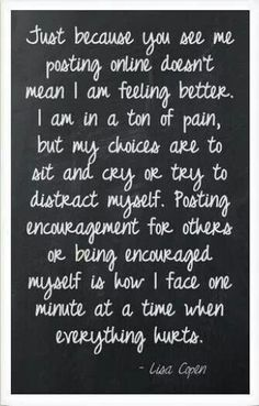 Come on people... Getting on with life does not mean we're feeling well - we have no other choice ❤