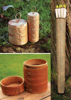 Birch bark containers ... pisses me off when dead links show on pins but, take this idea and figure it out. It's like stitching leather.