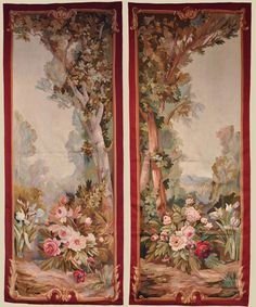Pretty Pair of French Napoleon III Aubusson Portieres A portière is a hanging placed over a door or over the door-less entrance to a room. Victorian Paintings, Wall Painting Decor, World Decor, Unique Flooring, European Home Decor, Modern Vintage Fashion, Chinese Art, Home Art, Marque Page