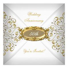 Elegant  50th Wedding Anniversary White Gold Custom invitations Birthday invitations by zizzago.com