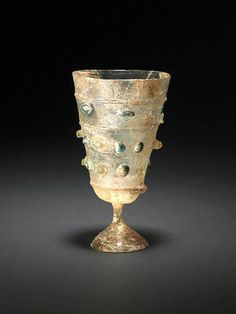 A rare stemmed glass Goblet.  Persia or Syria, 10th - 13th Centuries