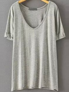 V Neck Loose Pale Grey T-shirt 8.99