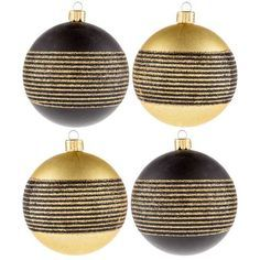 Silver and gold? Why not black and gold? Make your Christmas the epitome of ultra modern chic glam with Black & Gold Ball Ornaments with Glitter Stripes. These gorgeous matte finish ornaments feature