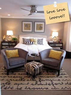 Babblings of a Mommy: Style Inspiration: Grey + Yellow  I want this master bedroom!!!